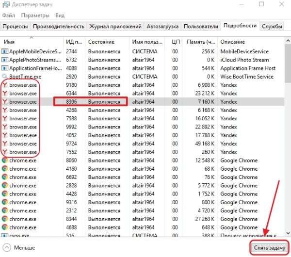 Завершение процессов «Яндекс.Браузера»