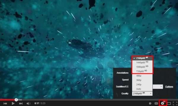 Панель настроек качества видео на видеохостинге Youtube