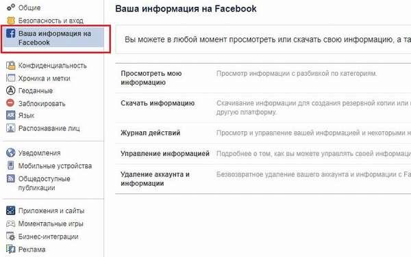 Удаление аккаунта Фейсбук