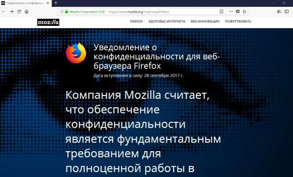 Стартовое окно браузера Mozilla Firefox