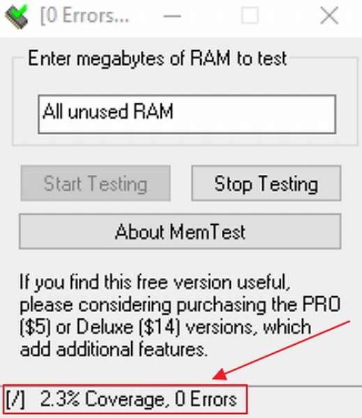 Процесс тестирования оперативной памяти компьютера утилитой Memtest