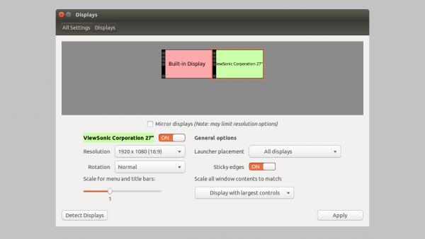 Панель настроек дисплеев в Linux