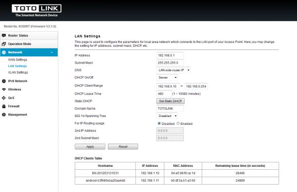 Задание IP роутера и диапазона адресов DHCP