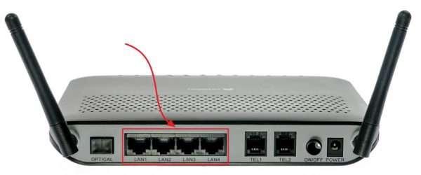 Внешний вид LAN-портов маршрутизатора