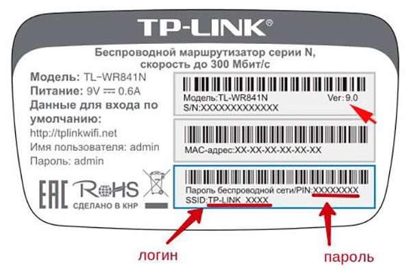 Наклейка с параметрами маршрутизатора