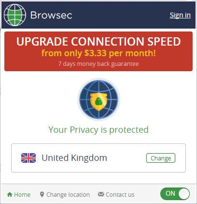 Включенный Browsec