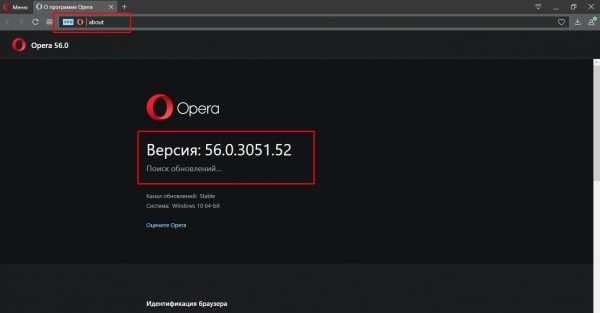 Проверка наличия обновлений Opera через адресную строку