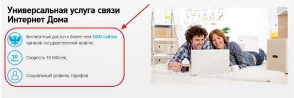 Услуга подключения «Интернет дома»