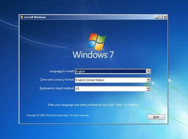 выбор языка установки windows 7