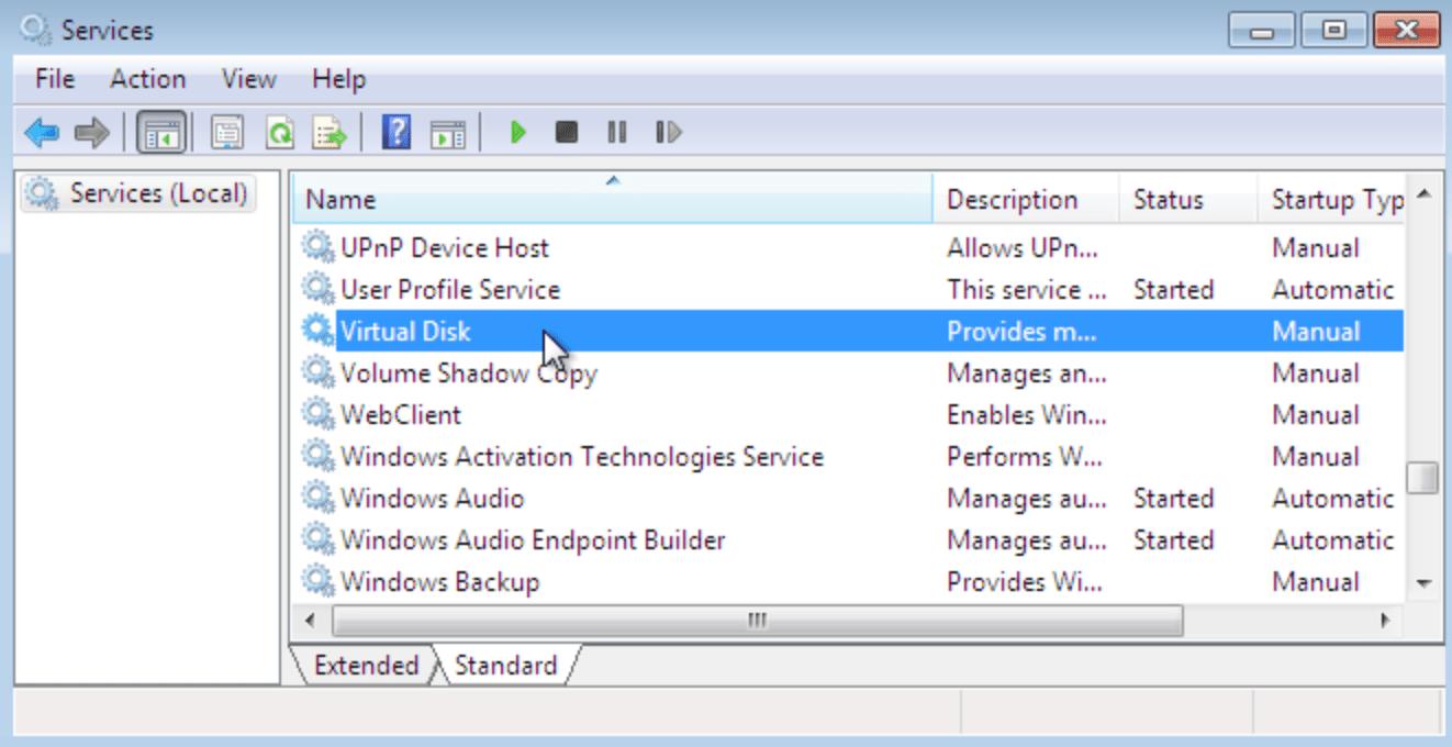 Служба виртуальных дисков Windows