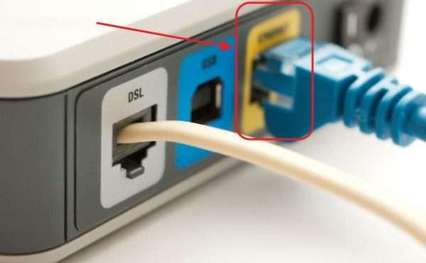 Панель разъёмов ADSL-модема