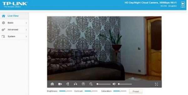 Панель управления в веб-обозревателе камеры TP-LINK NC200