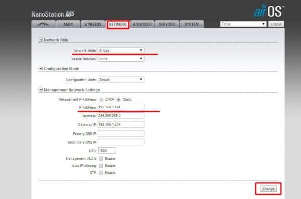 Окно настроек NETWORK для маршрутизатора Ubiquiti NanoStation M5 (приёмник)