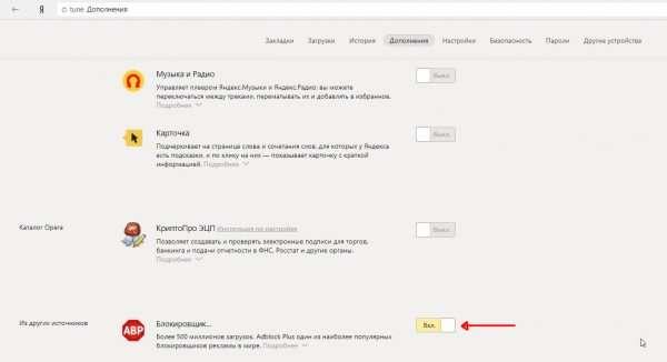 Отключение Adblock Plus в «Яндекс.Браузере»