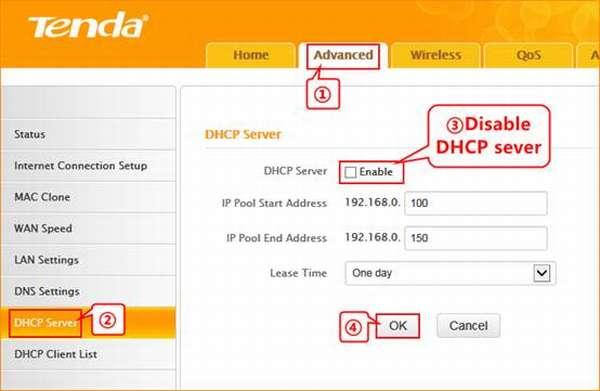 DHCP-настройка Tenda F3