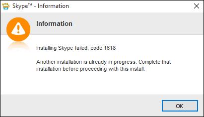 Ошибка 1618 в Skype