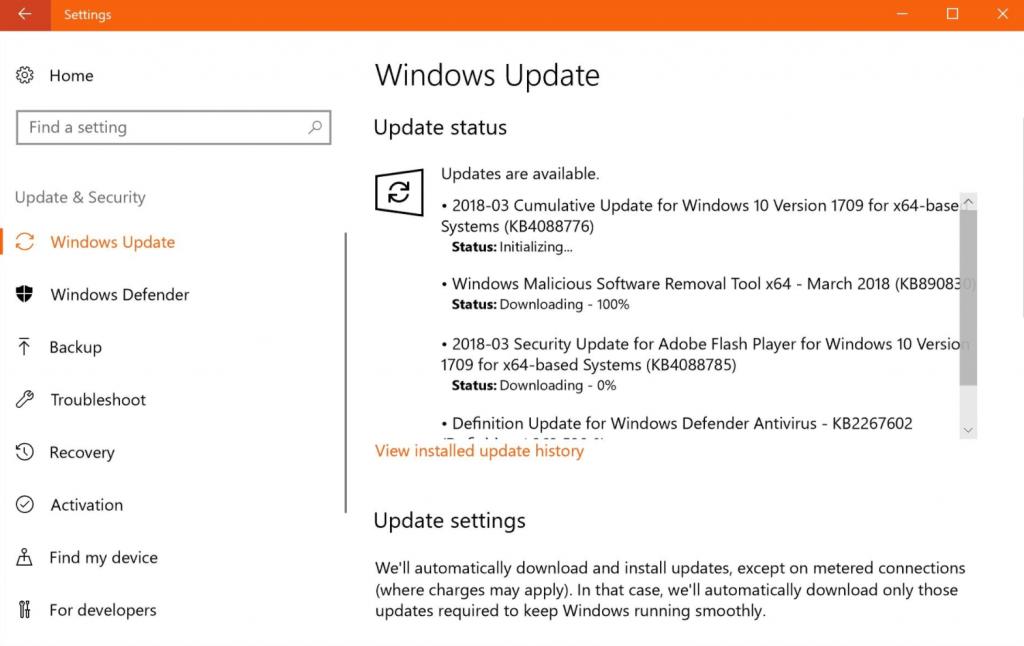 Установка накопительного обновления Windows 10 KB4054517