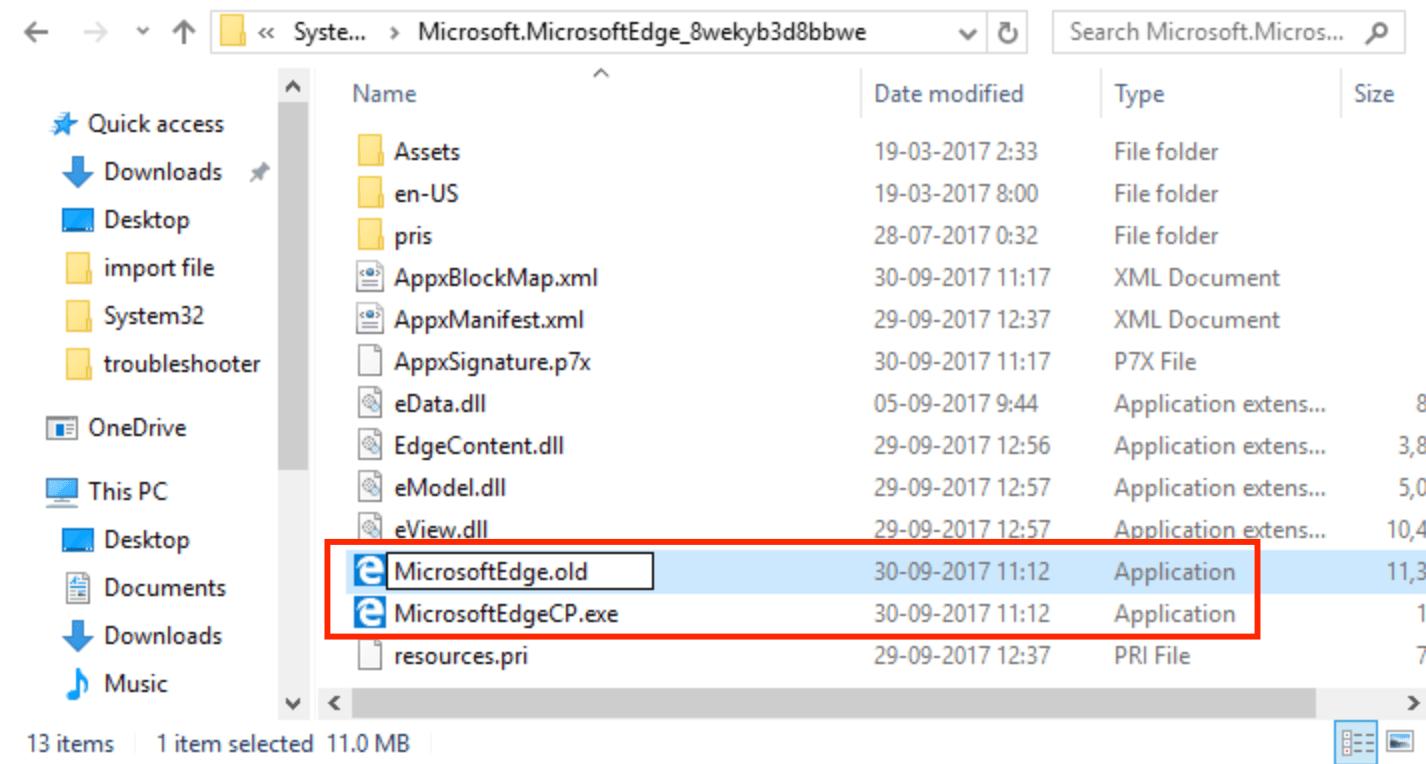 Переименование Microsoft Edge exe