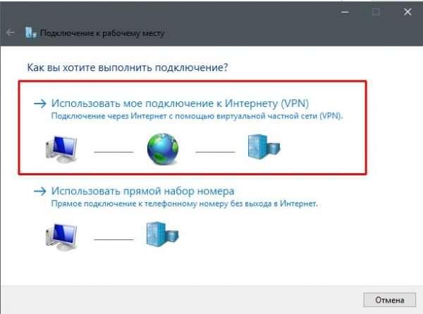 «Использовать мое подключение к Интернету (VPN)»