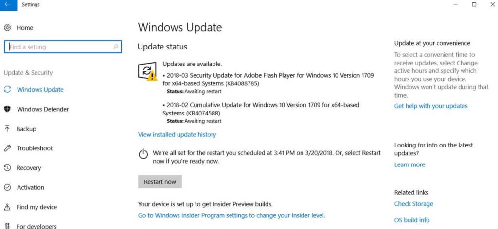 Установка kb4088785 через Центр обновлений Windows