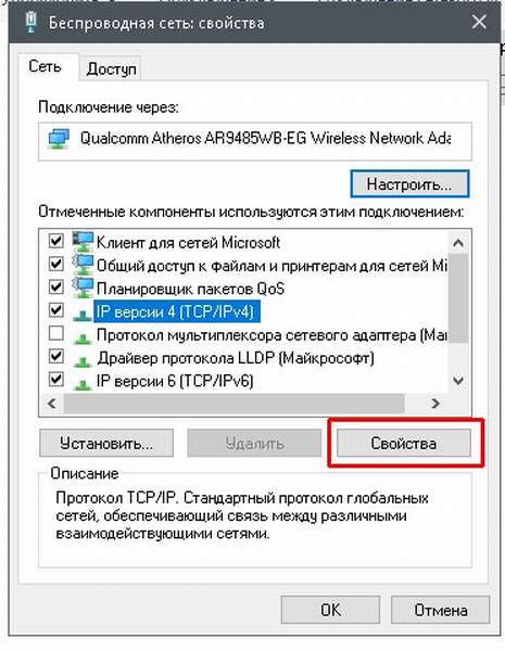 Свойства протокола «Ip версии 4»