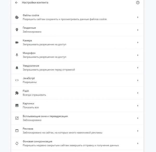Настройки контента в браузере Google Chrome