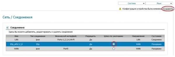 Окончательный выбор профиля связи с провайдером на DIR-620