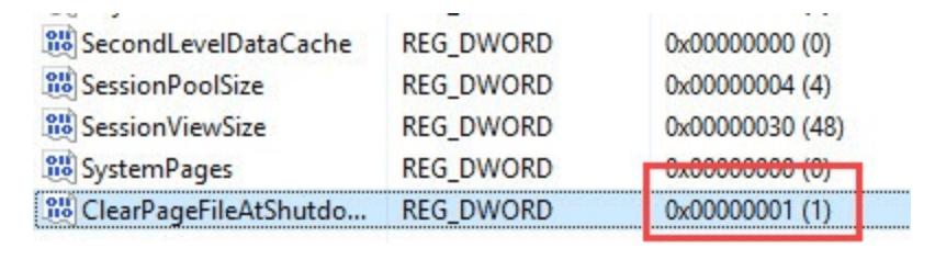 Очистка файла подкачки при отключении Windwos