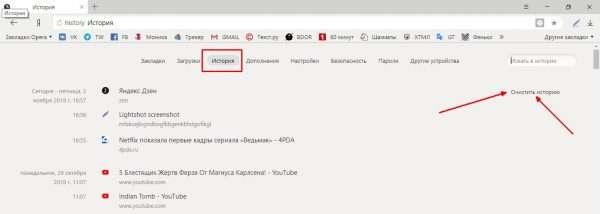 Запуск очистки истории в «Яндекс.Браузере»