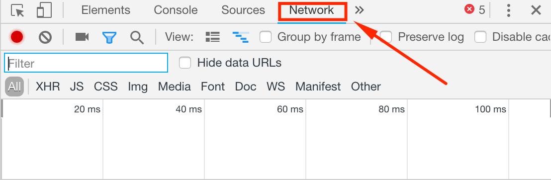 Вкладка Network в Яндекс Браузере