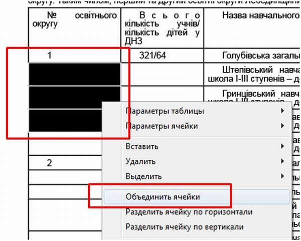 Как удалить (объединить) ячейки таблицы