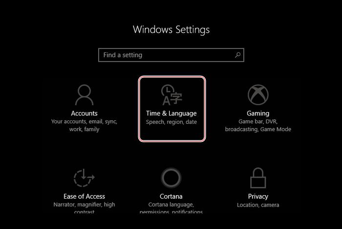 Переход к разделу настроек времени и языка Windows