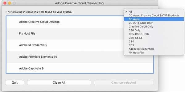 Удаление приложений через Adobe Creative Cloud