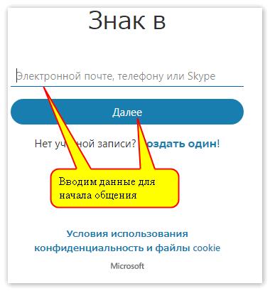 Ввод данных в Веб версию Скайпа