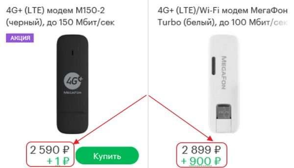 Стоимость 4G USB-модемов, указанная на сайте компании «Мегафон»