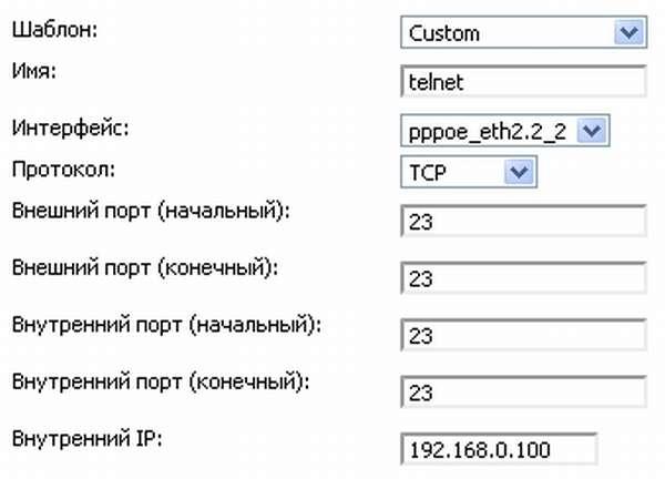 Указание пробрасываемых портов DIR-655
