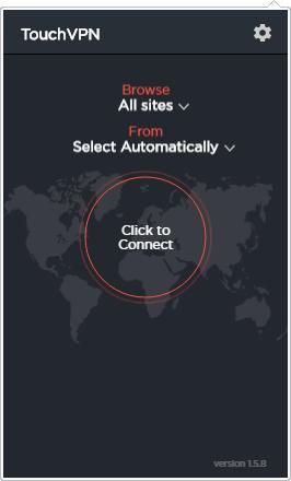 Главное окно TouchVPN