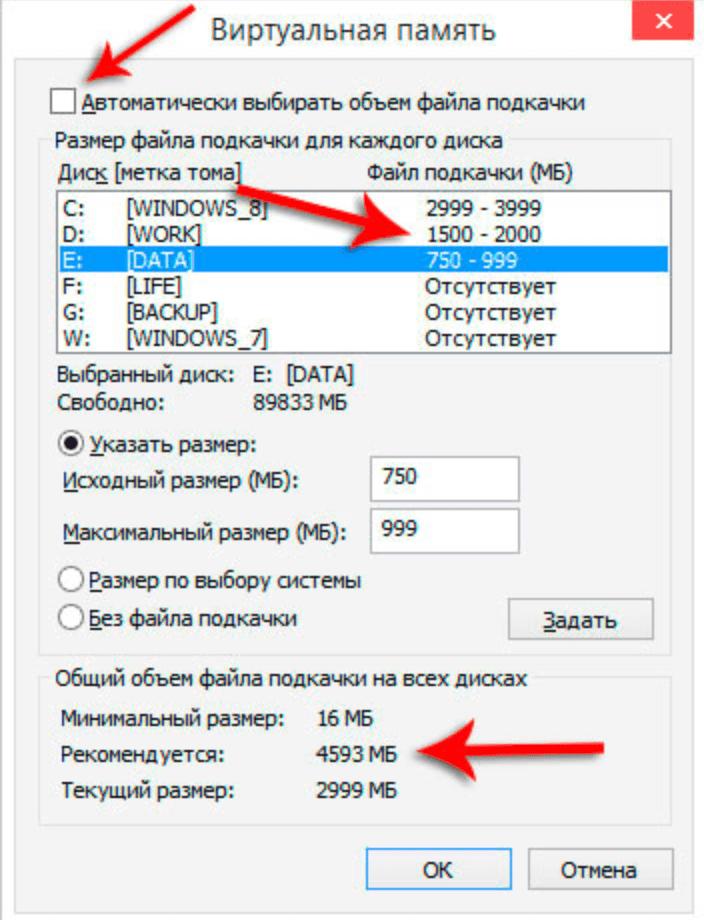 Несколько файлов подкачки в Windows