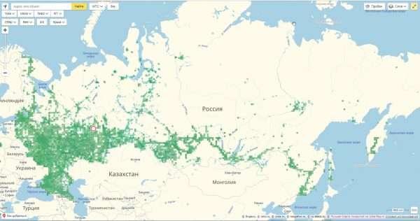 Карта покрытия сети 3G на территории России