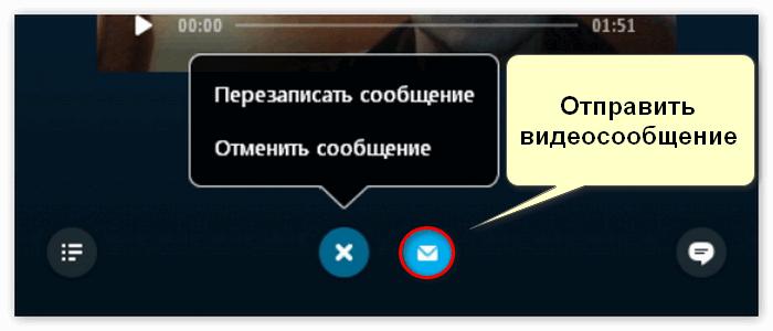 Отправка видеосообщения