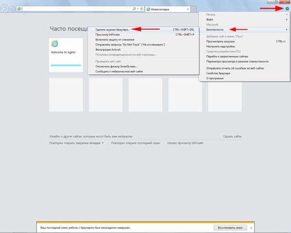 Удаление истории браузера в Internet Explorer