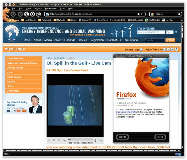 Интерфейс браузера Firefox для Linux