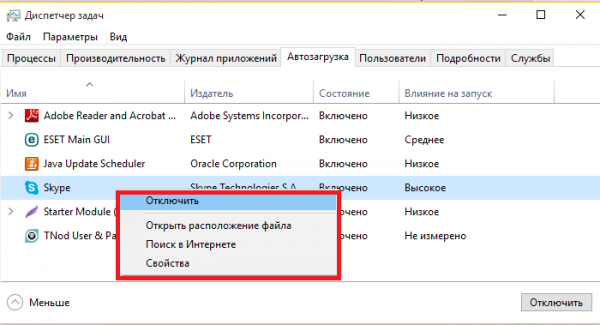 Список автоматически запускающихся программам в диспетчере задач Windows 10