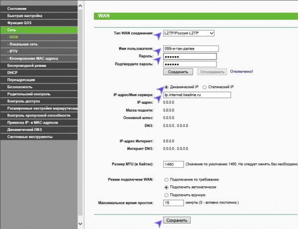 Пример настроек локальной сети TP-Link с провайдером Билайн