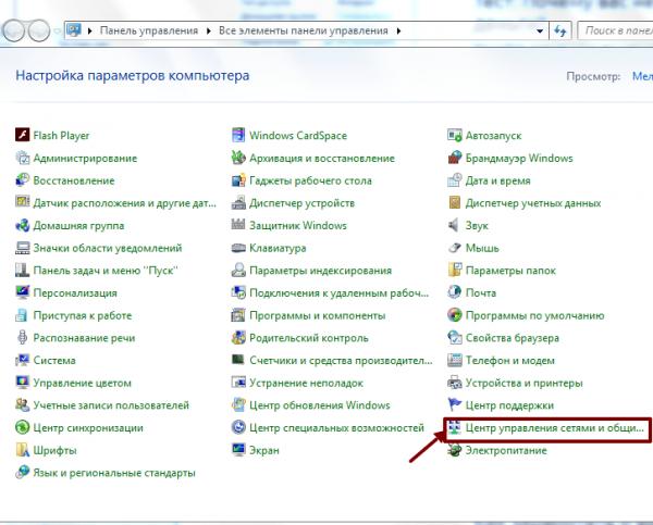 Элементы панели управления Windows