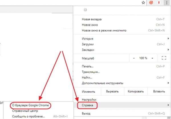 Меню настройки веб-браузера Google Chrome