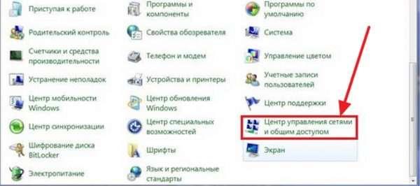 Окно «Панели управления» в Windows 7