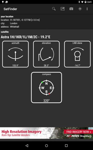 Страница спутника в приложении SatFinder