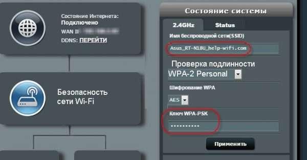 Уточнение шифрования и пароля сети Wi-Fi на роутере Asus