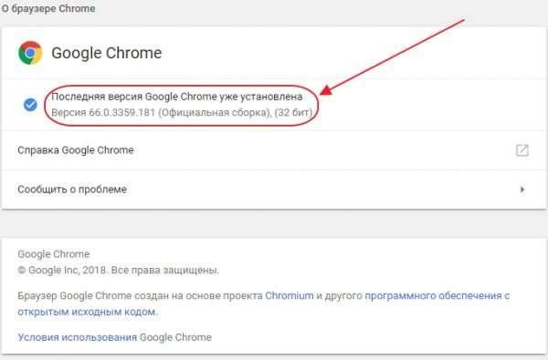 Консоль «О браузере Chrome»